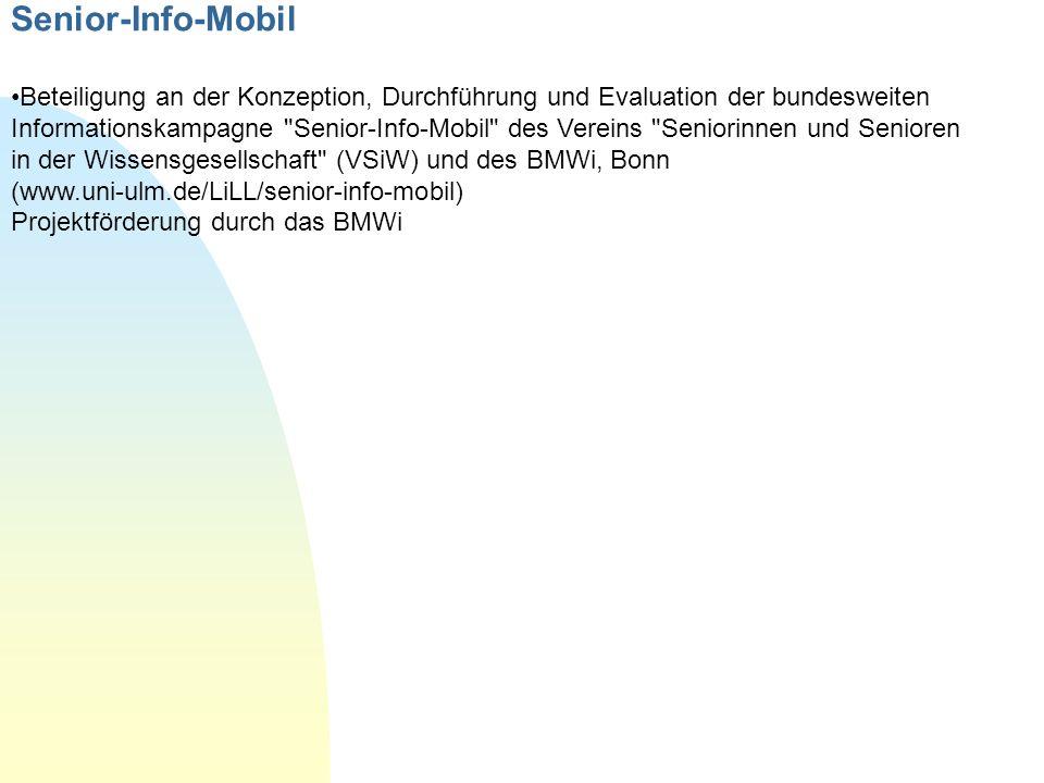 Senior-Info-Mobil Beteiligung an der Konzeption, Durchführung und Evaluation der bundesweiten Informationskampagne