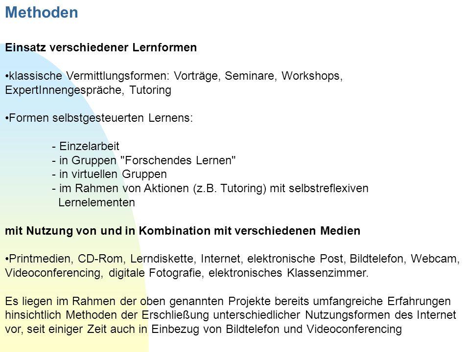 Methoden Einsatz verschiedener Lernformen klassische Vermittlungsformen: Vorträge, Seminare, Workshops, ExpertInnengespräche, Tutoring Formen selbstge