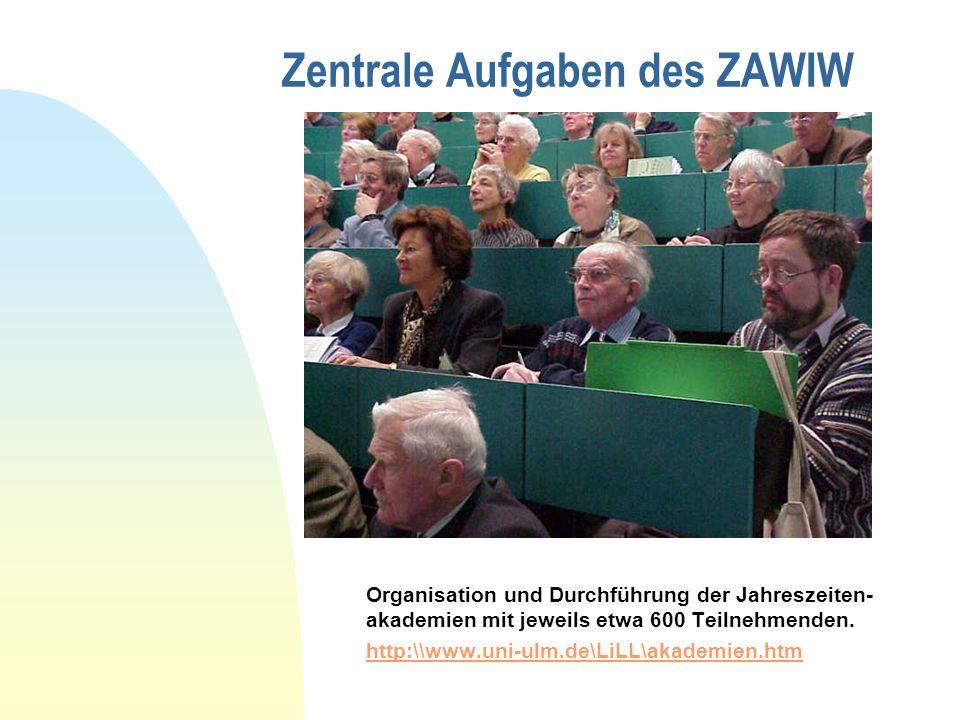 Zentrale Aufgaben des ZAWIW Organisation und Durchführung der Jahreszeiten- akademien mit jeweils etwa 600 Teilnehmenden. http:\\www.uni-ulm.de\LiLL\a
