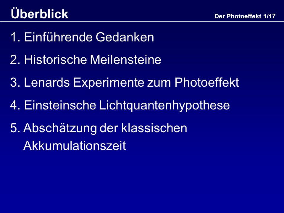 Der Photoeffekt 12/17 Lichtquantenhypothese (3) Fraunhofer, Bohr, Franck und Hertz: Atome sind schwingungsfähige Gebilde mit charakteristischen Eigenfrequenzen Energie des abgelösten Elektrons: