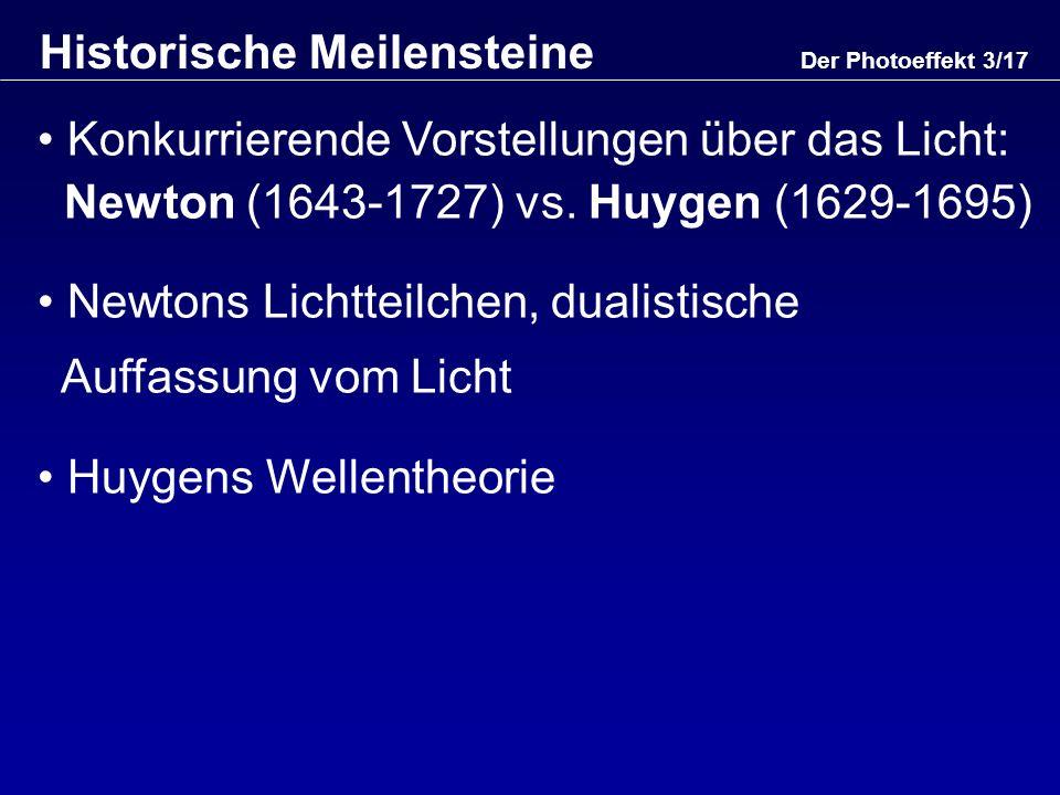 Interferenzversuch von Young (1773-1829) Doppelspaltexperiment Erklärungsproblem: Licht + Licht = Dunkel (?) Erklärung nur mit Wellenbild möglich Maxwell (1831-1879): Elektromagnetischer Charakter des Lichts Der Photoeffekt 4/17 Historische Meilensteine (2)