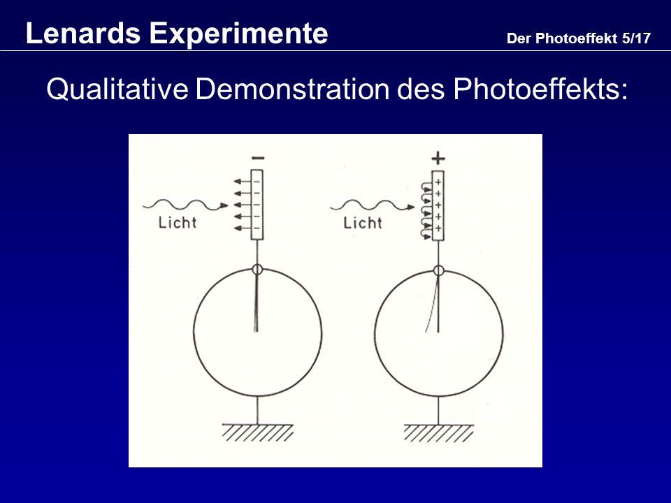 Der Photoeffekt 6/17 Lenards Experimente (2) Quantitative Demonstration des Photoeffekts: