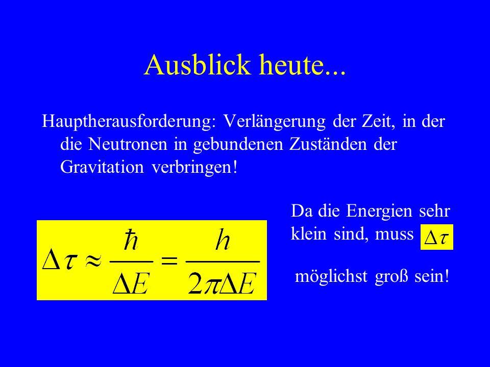5. Aktuelles Beispiel: Gravitationsfelder Gravitationsfeld muss quantenhaften Charakter haben Versuch: Neutronen auf reflektierenden Spiegel fallen la