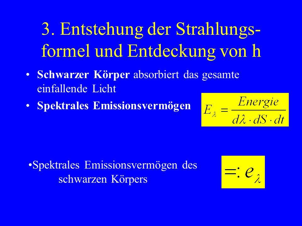 2. Seine Arbeit Thermodynamik Über das ganze Spektrum gültiges Strahlungsgesetz Einführung der Naturkonstanten h Strahlungsformel Energiequanten
