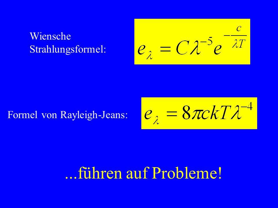 ...führen auf Probleme! Wiensche Strahlungsformel: Formel von Rayleigh-Jeans: