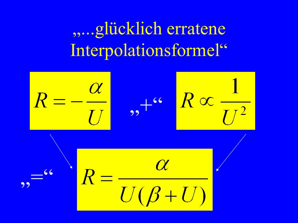 ...glücklich erratene Interpolationsformel + =