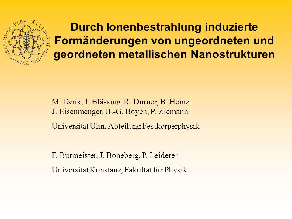 Strahlenschaden bei Ionenbeschuß 300 keV He + 300 keV Kr + Au 10keV nach 1,5 ps MD-Simulation (R.S.