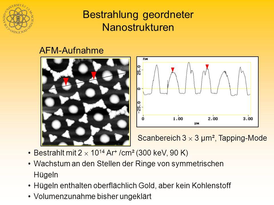 Bestrahlung geordneter Nanostrukturen Bestrahlt mit 2 10 14 Ar + /cm² (300 keV, 90 K) Wachstum an den Stellen der Ringe von symmetrischen Hügeln Hügel