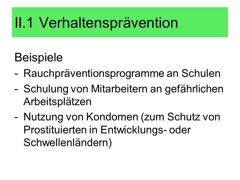 Beispiele -Rauchpräventionsprogramme an Schulen -Schulung von Mitarbeitern an gefährlichen Arbeitsplätzen -Nutzung von Kondomen (zum Schutz von Prosti