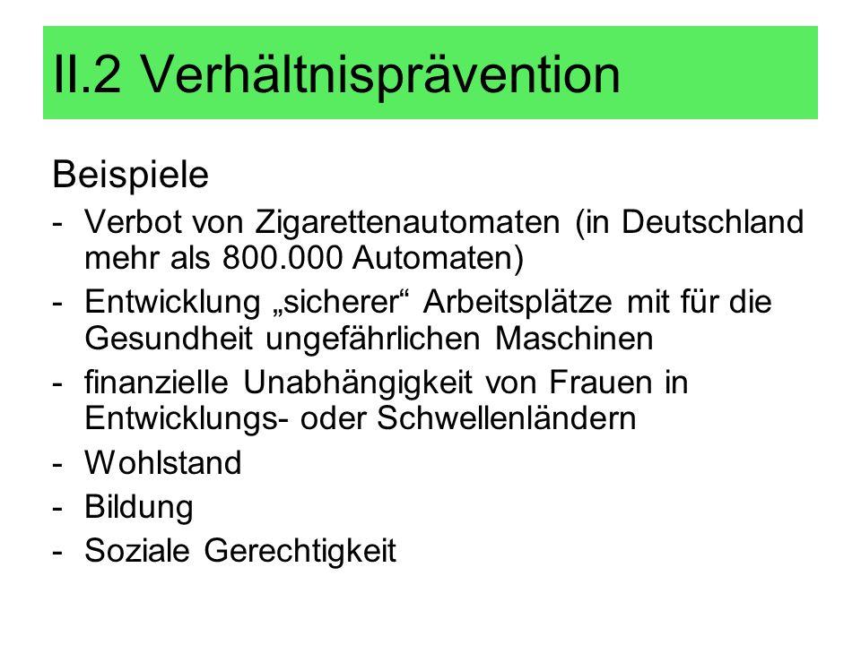 Beispiele -Verbot von Zigarettenautomaten (in Deutschland mehr als 800.000 Automaten) -Entwicklung sicherer Arbeitsplätze mit für die Gesundheit ungef