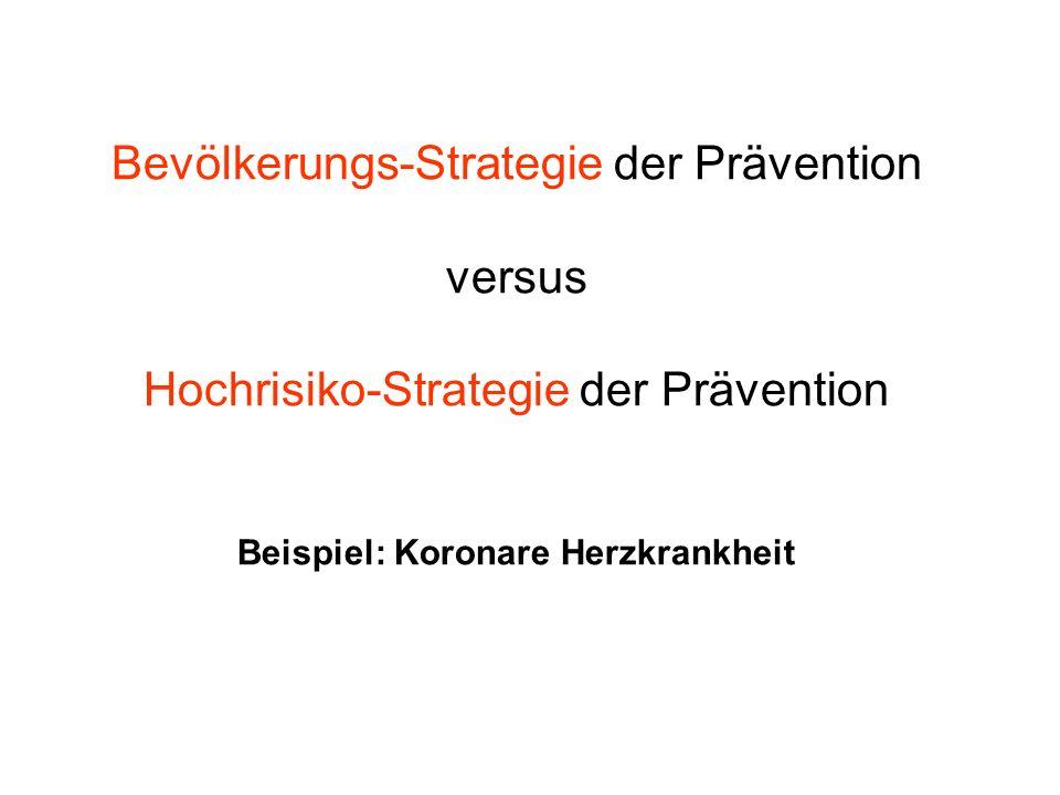 Bevölkerungs-Strategie der Prävention versus Hochrisiko-Strategie der Prävention Beispiel: Koronare Herzkrankheit
