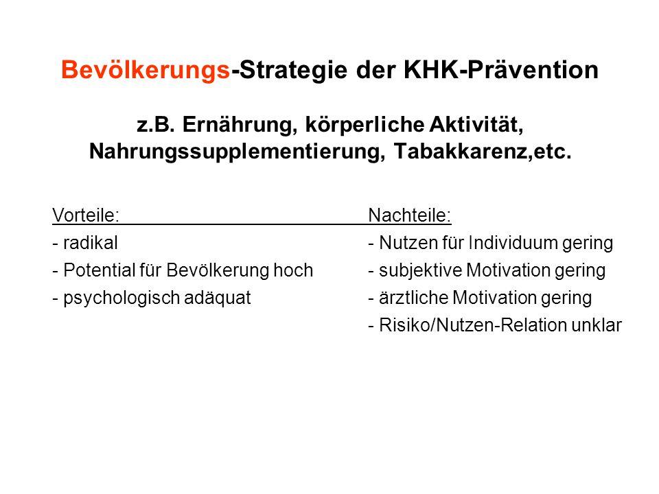 Bevölkerungs-Strategie der KHK-Prävention z.B. Ernährung, körperliche Aktivität, Nahrungssupplementierung, Tabakkarenz,etc. Vorteile:Nachteile: - radi