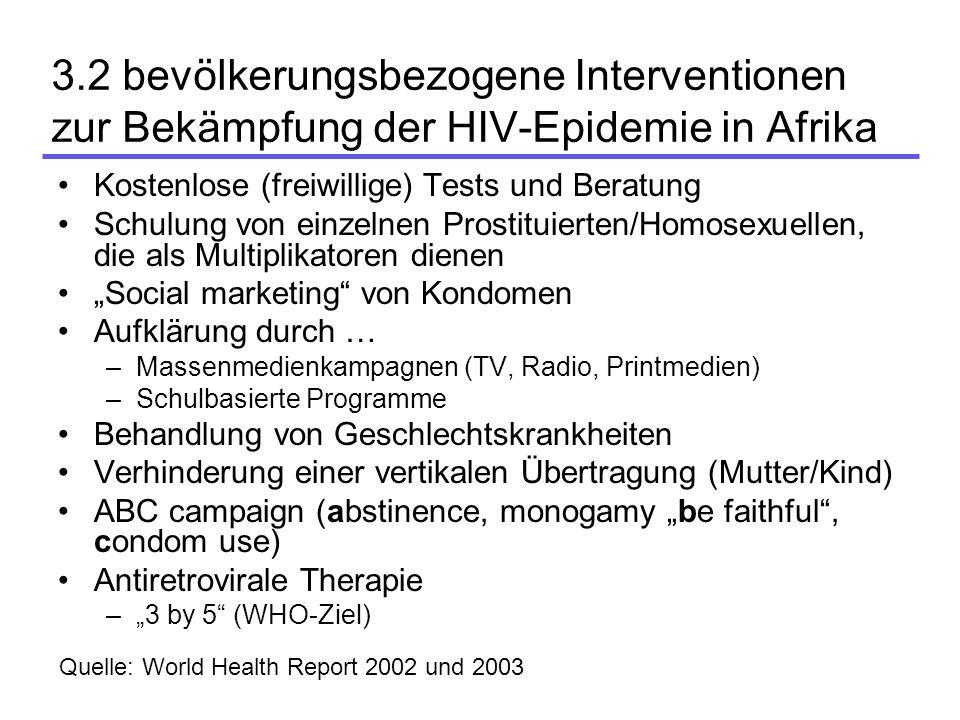 3.2 bevölkerungsbezogene Interventionen zur Bekämpfung der HIV-Epidemie in Afrika Kostenlose (freiwillige) Tests und Beratung Schulung von einzelnen P