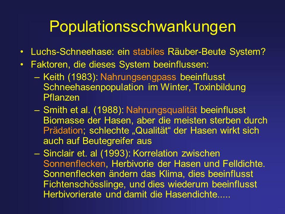Populationsschwankungen Luchs-Schneehase: ein stabiles Räuber-Beute System? Faktoren, die dieses System beeinflussen: –Keith (1983): Nahrungsengpass b