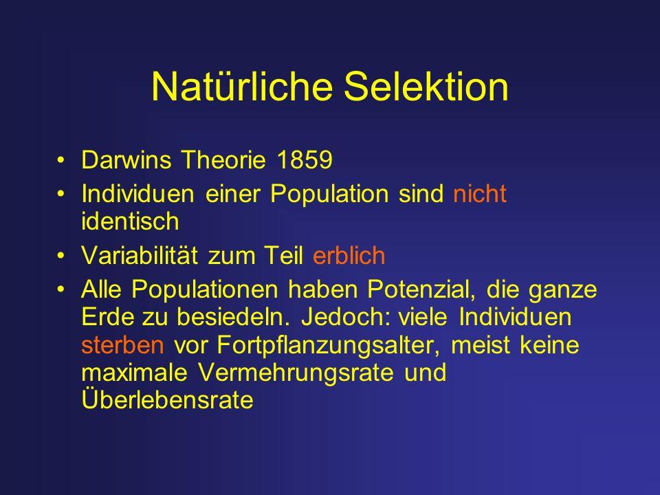 Natürliche Selektion Darwins Theorie 1859 Individuen einer Population sind nicht identisch Variabilität zum Teil erblich Alle Populationen haben Poten
