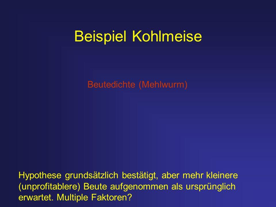 Beispiel Kohlmeise Hypothese grundsätzlich bestätigt, aber mehr kleinere (unprofitablere) Beute aufgenommen als ursprünglich erwartet. Multiple Faktor
