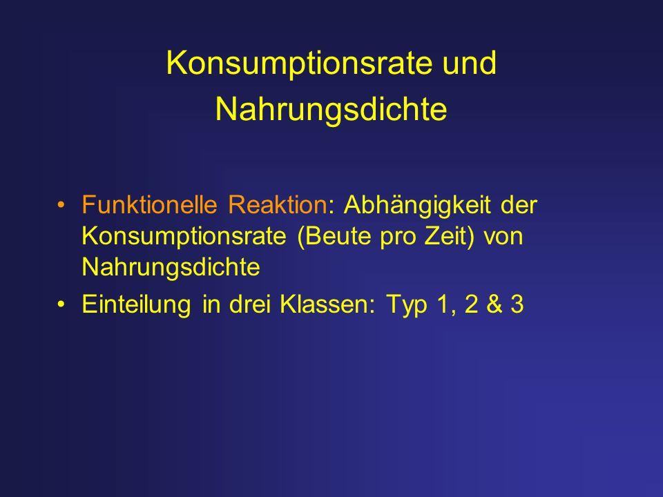 Konsumptionsrate und Nahrungsdichte Funktionelle Reaktion: Abhängigkeit der Konsumptionsrate (Beute pro Zeit) von Nahrungsdichte Einteilung in drei Kl