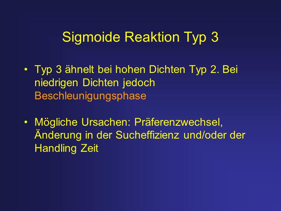 Sigmoide Reaktion Typ 3 Typ 3 ähnelt bei hohen Dichten Typ 2. Bei niedrigen Dichten jedoch Beschleunigungsphase Mögliche Ursachen: Präferenzwechsel, Ä