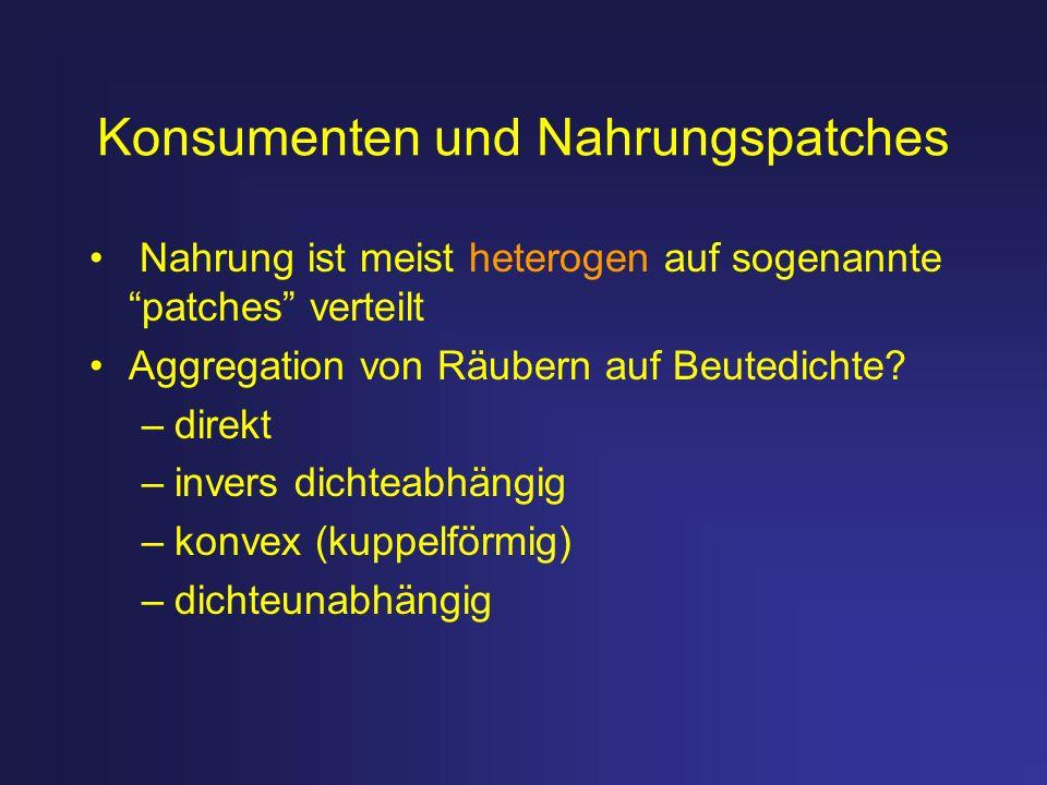 Konsumenten und Nahrungspatches Nahrung ist meist heterogen auf sogenannte patches verteilt Aggregation von Räubern auf Beutedichte? –direkt –invers d