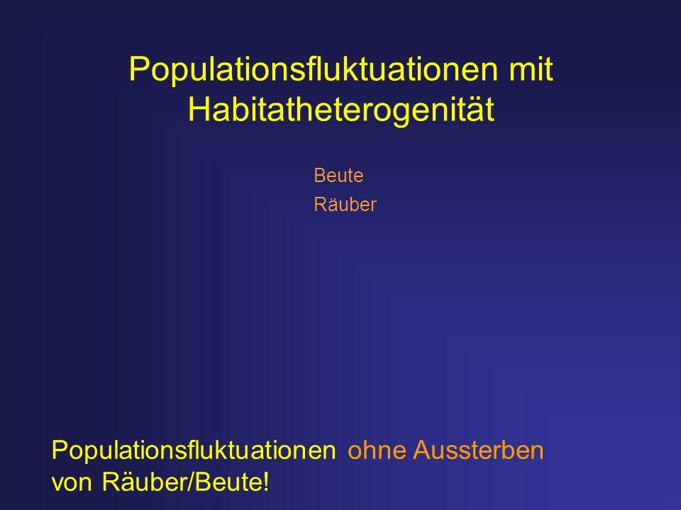 Populationsfluktuationen mit Habitatheterogenität Populationsfluktuationen ohne Aussterben von Räuber/Beute! Beute Räuber