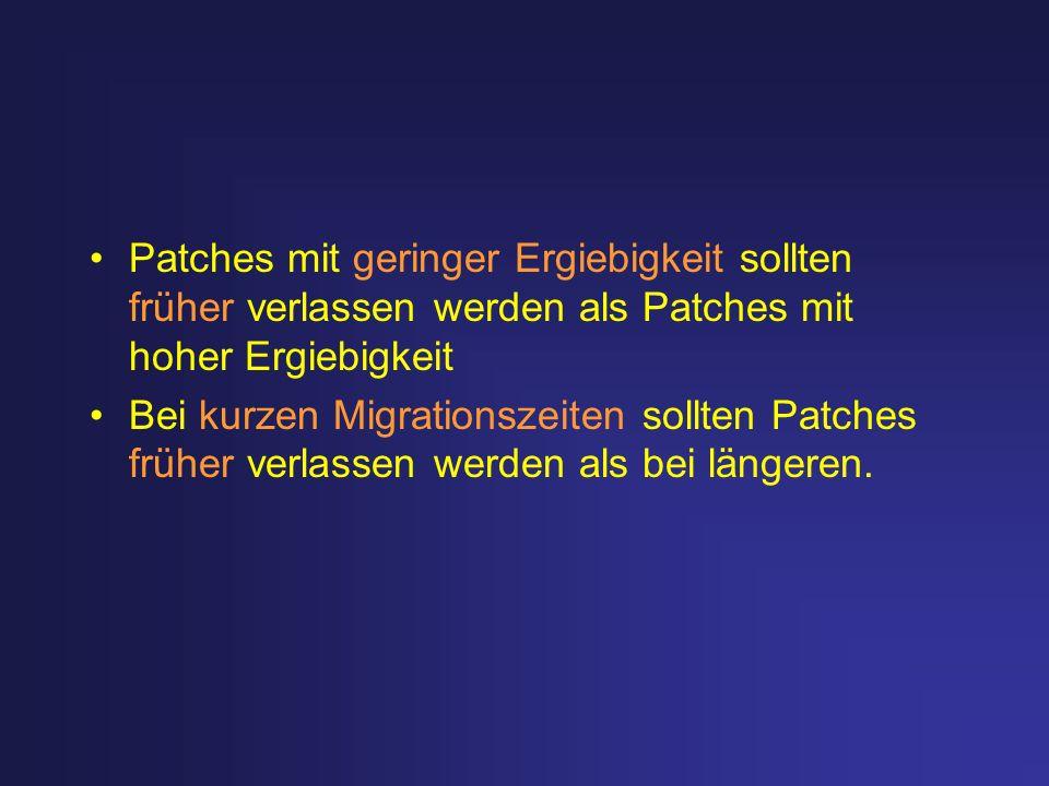 Patches mit geringer Ergiebigkeit sollten früher verlassen werden als Patches mit hoher Ergiebigkeit Bei kurzen Migrationszeiten sollten Patches frühe