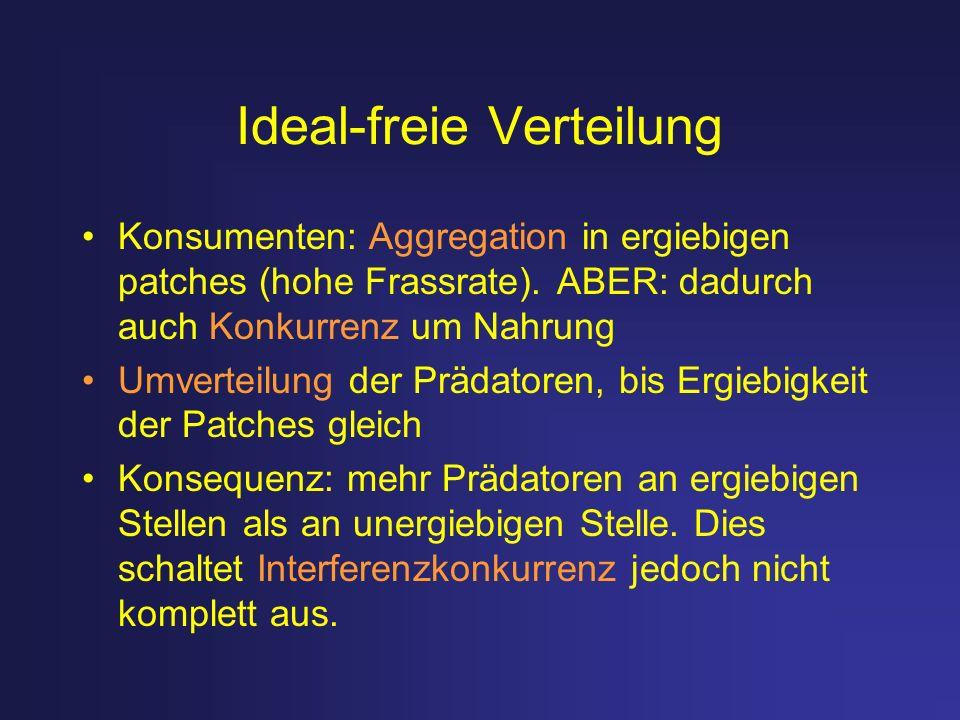 Ideal-freie Verteilung Konsumenten: Aggregation in ergiebigen patches (hohe Frassrate). ABER: dadurch auch Konkurrenz um Nahrung Umverteilung der Präd