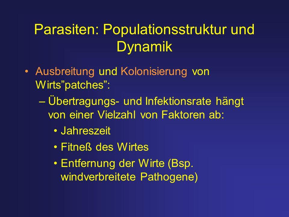 Parasiten: Populationsstruktur und Dynamik Ausbreitung und Kolonisierung von Wirtspatches: –Übertragungs- und Infektionsrate hängt von einer Vielzahl