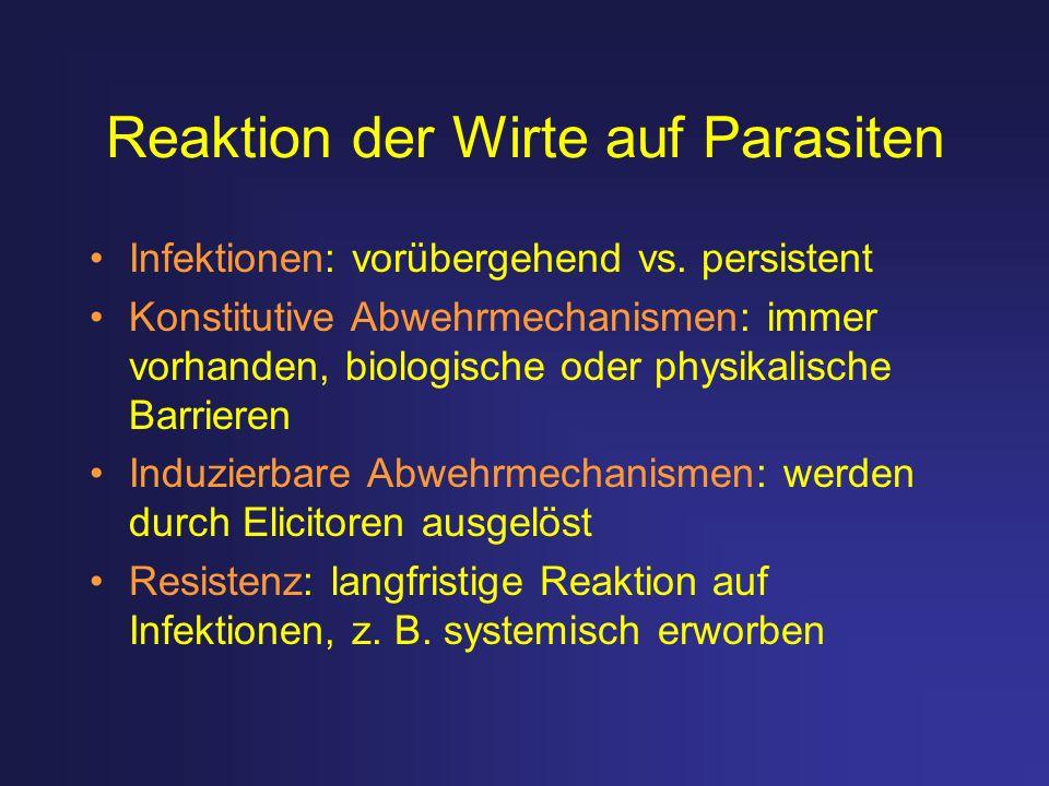 Reaktion der Wirte auf Parasiten Infektionen: vorübergehend vs. persistent Konstitutive Abwehrmechanismen: immer vorhanden, biologische oder physikali