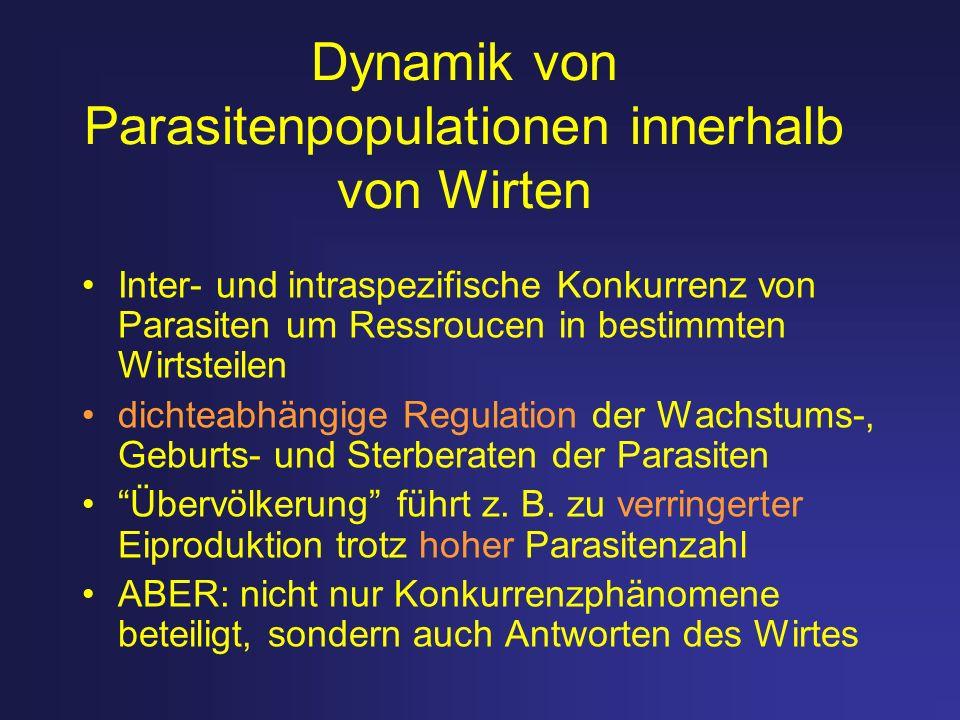Dynamik von Parasitenpopulationen innerhalb von Wirten Inter- und intraspezifische Konkurrenz von Parasiten um Ressroucen in bestimmten Wirtsteilen di
