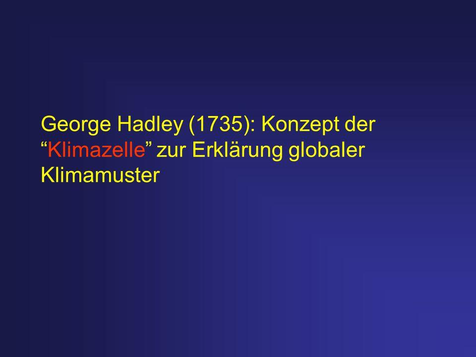 George Hadley (1735): Konzept derKlimazelle zur Erklärung globaler Klimamuster