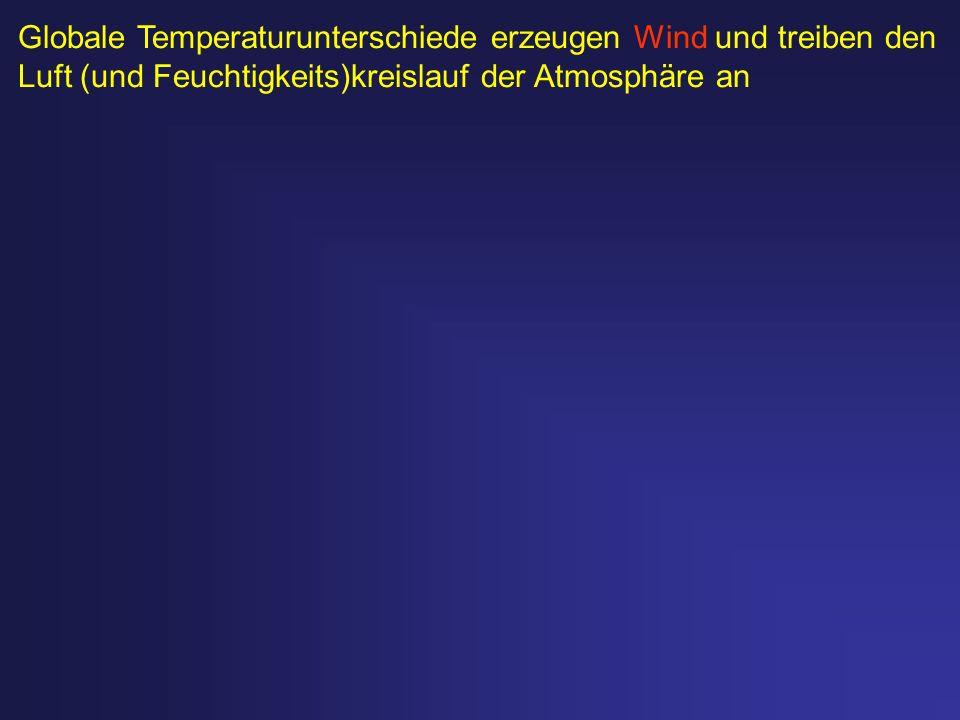 Globale Temperaturunterschiede erzeugen Wind und treiben den Luft (und Feuchtigkeits)kreislauf der Atmosphäre an