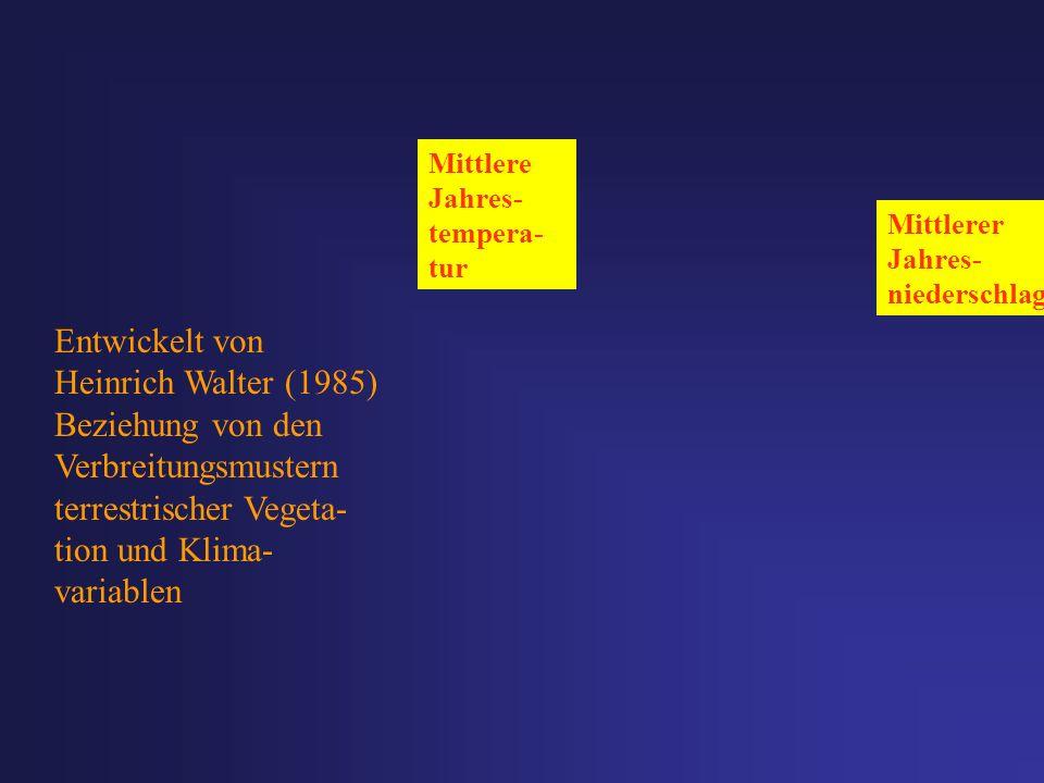 Entwickelt von Heinrich Walter (1985) Beziehung von den Verbreitungsmustern terrestrischer Vegeta- tion und Klima- variablen Mittlerer Jahres- nieders