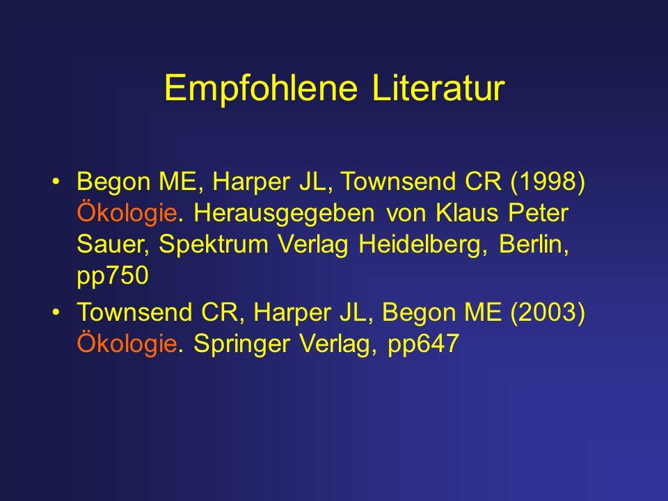 Empfohlene Literatur Begon ME, Harper JL, Townsend CR (1998) Ökologie. Herausgegeben von Klaus Peter Sauer, Spektrum Verlag Heidelberg, Berlin, pp750