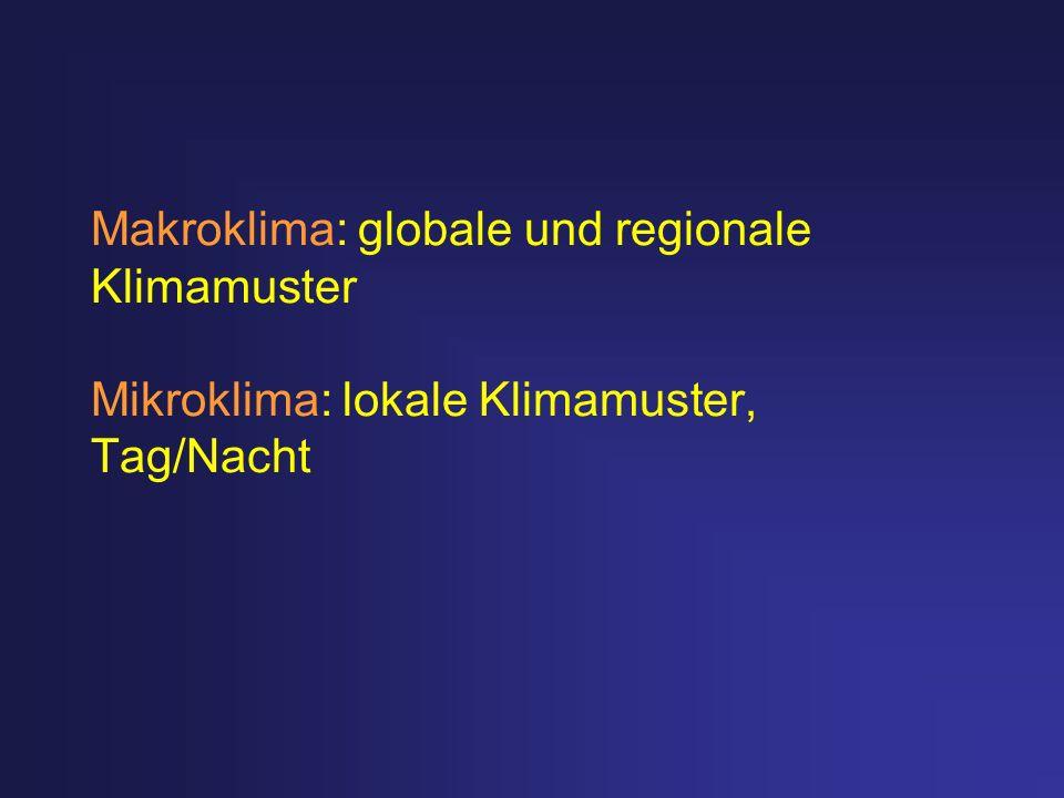 Makroklima: globale und regionale Klimamuster Mikroklima: lokale Klimamuster, Tag/Nacht