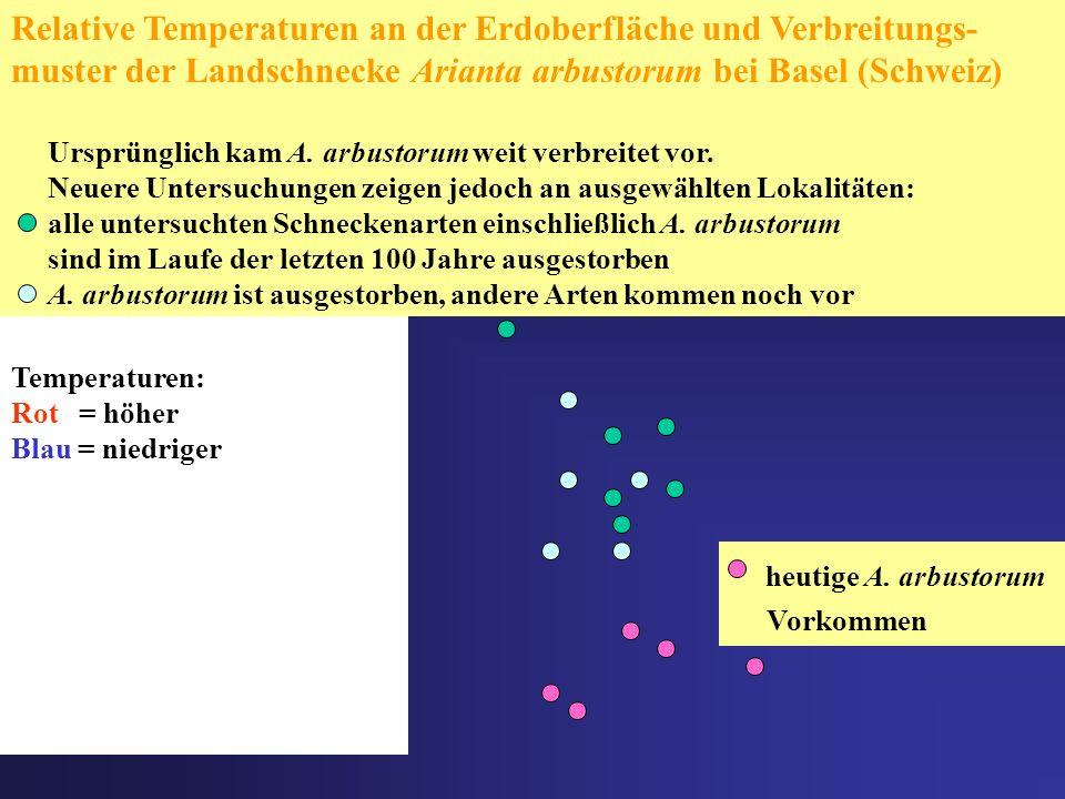 Temperaturen: Rot = höher Blau = niedriger Relative Temperaturen an der Erdoberfläche und Verbreitungs- muster der Landschnecke Arianta arbustorum bei