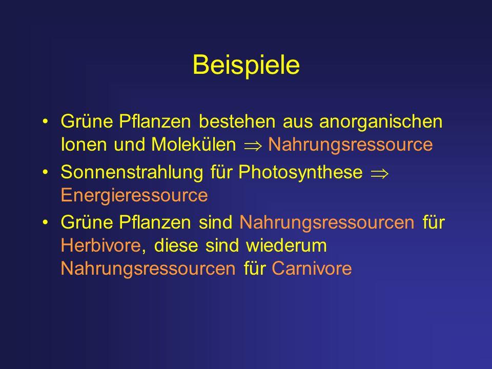 Beispiele Grüne Pflanzen bestehen aus anorganischen Ionen und Molekülen Nahrungsressource Sonnenstrahlung für Photosynthese Energieressource Grüne Pfl