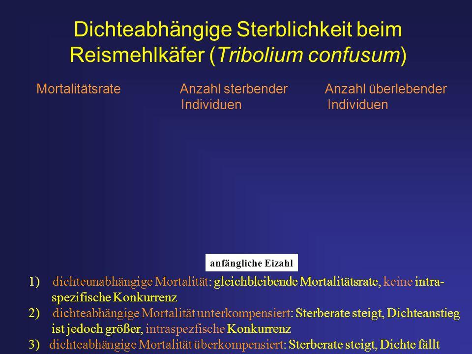 Dichteabhängige Sterblichkeit beim Reismehlkäfer (Tribolium confusum) Mortalitätsrate Anzahl sterbender Anzahl überlebender Individuen Individuen 1) d