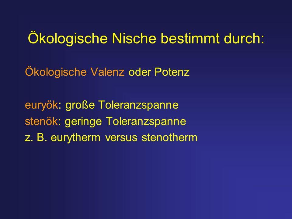 Ökologische Nische bestimmt durch: Ökologische Valenz oder Potenz euryök: große Toleranzspanne stenök: geringe Toleranzspanne z. B. eurytherm versus s