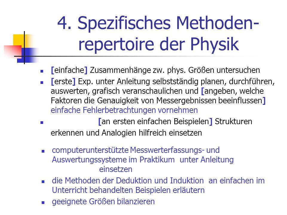 4. Spezifisches Methoden- repertoire der Physik [einfache] Zusammenhänge zw. phys. Größen untersuchen [erste] Exp. unter Anleitung selbstständig plane
