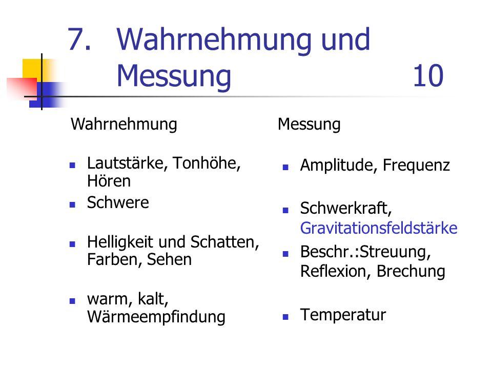 7. Wahrnehmung und Messung10 Lautstärke, Tonhöhe, Hören Schwere Helligkeit und Schatten, Farben, Sehen warm, kalt, Wärmeempfindung Amplitude, Frequenz