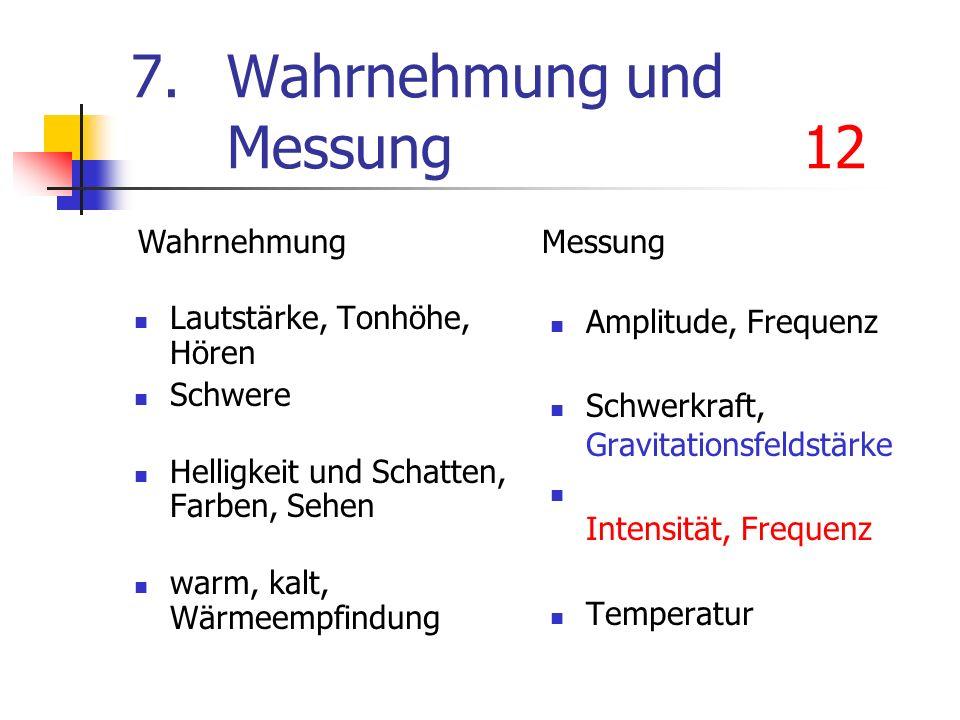 7. Wahrnehmung und Messung12 Lautstärke, Tonhöhe, Hören Schwere Helligkeit und Schatten, Farben, Sehen warm, kalt, Wärmeempfindung Amplitude, Frequenz