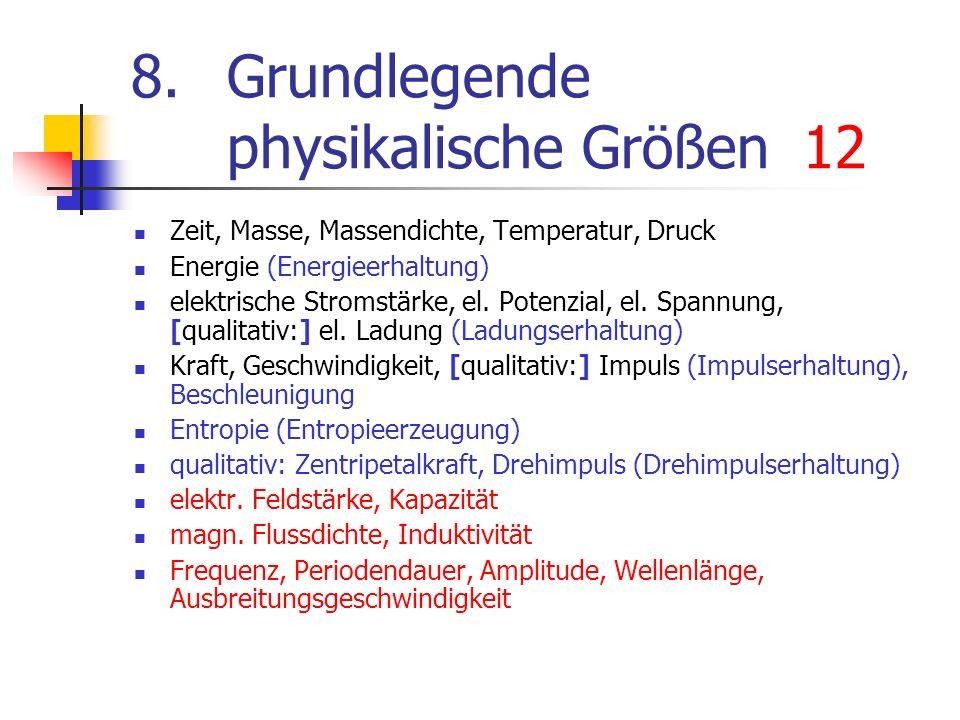 8.Grundlegende physikalische Größen12 Zeit, Masse, Massendichte, Temperatur, Druck Energie (Energieerhaltung) elektrische Stromstärke, el. Potenzial,