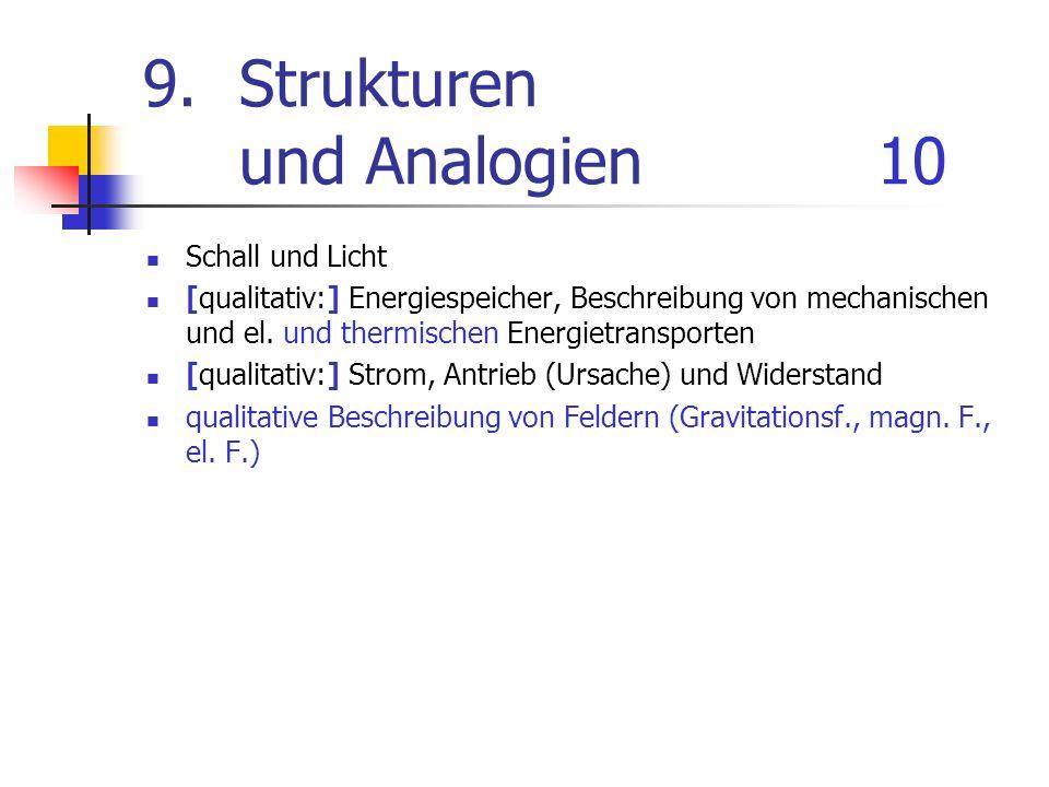 9.Strukturen und Analogien10 Schall und Licht [qualitativ:] Energiespeicher, Beschreibung von mechanischen und el. und thermischen Energietransporten