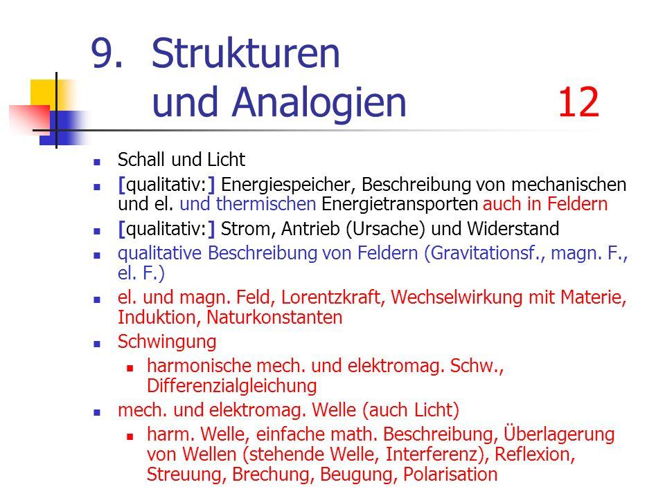 9.Strukturen und Analogien12 Schall und Licht [qualitativ:] Energiespeicher, Beschreibung von mechanischen und el. und thermischen Energietransporten