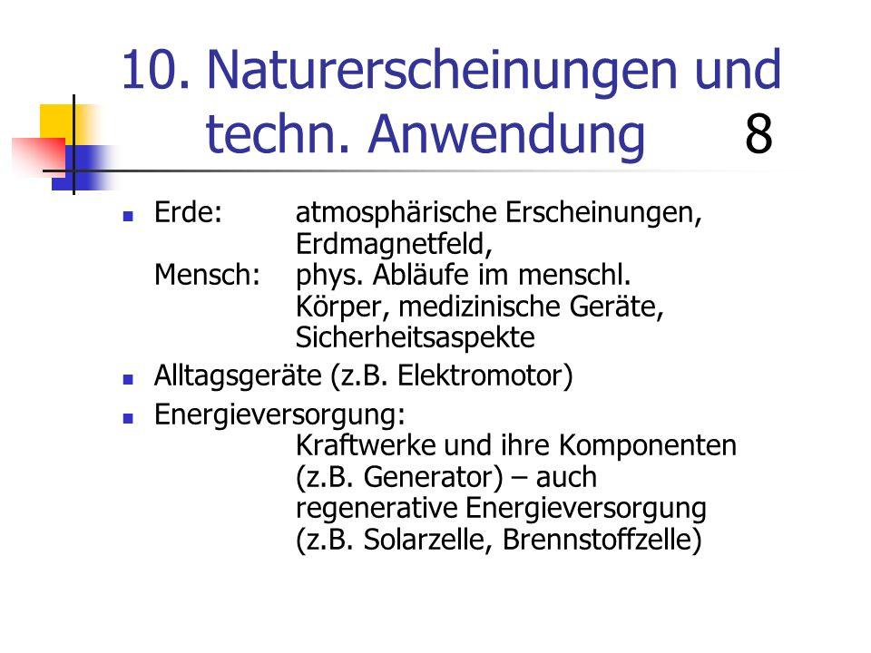 10.Naturerscheinungen und techn. Anwendung 8 Erde:atmosphärische Erscheinungen, Erdmagnetfeld, Mensch:phys. Abläufe im menschl. Körper, medizinische G