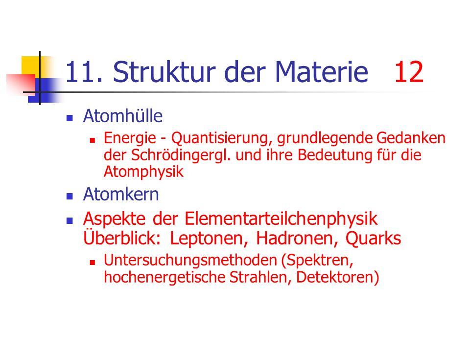 11. Struktur der Materie12 Atomhülle Energie - Quantisierung, grundlegende Gedanken der Schrödingergl. und ihre Bedeutung für die Atomphysik Atomkern