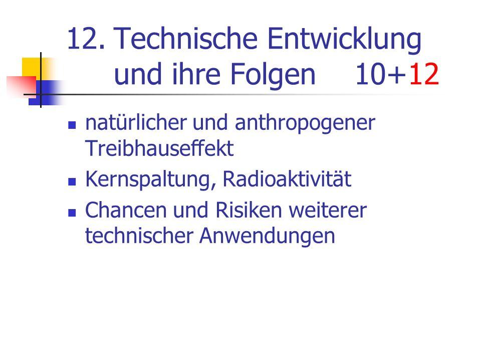 12.Technische Entwicklung und ihre Folgen10+12 natürlicher und anthropogener Treibhauseffekt Kernspaltung, Radioaktivität Chancen und Risiken weiterer