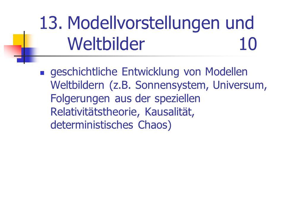 13.Modellvorstellungen und Weltbilder10 geschichtliche Entwicklung von Modellen Weltbildern (z.B. Sonnensystem, Universum, Folgerungen aus der speziel