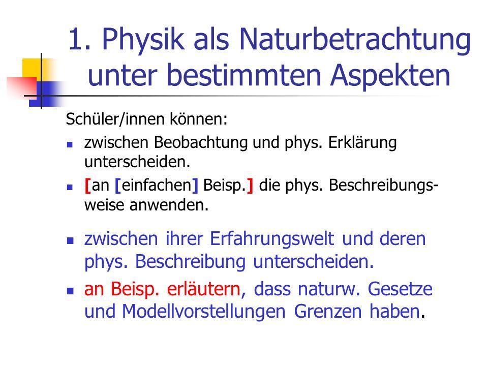 1. Physik als Naturbetrachtung unter bestimmten Aspekten Schüler/innen können: zwischen Beobachtung und phys. Erklärung unterscheiden. [an [einfachen]