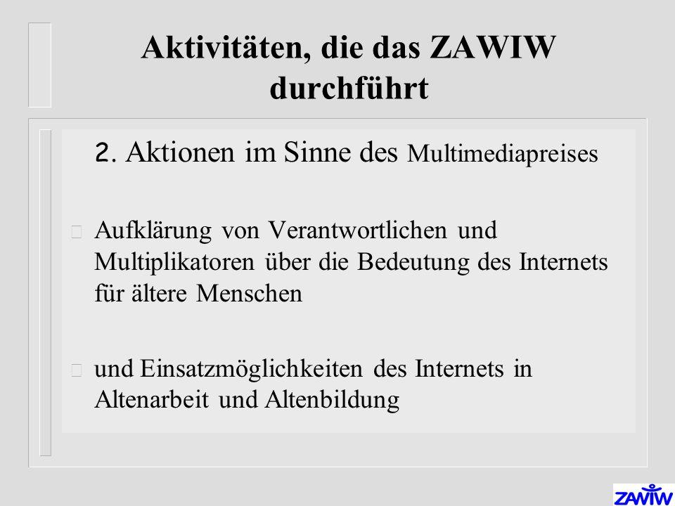 Aktivitäten, die das ZAWIW durchführt 2.
